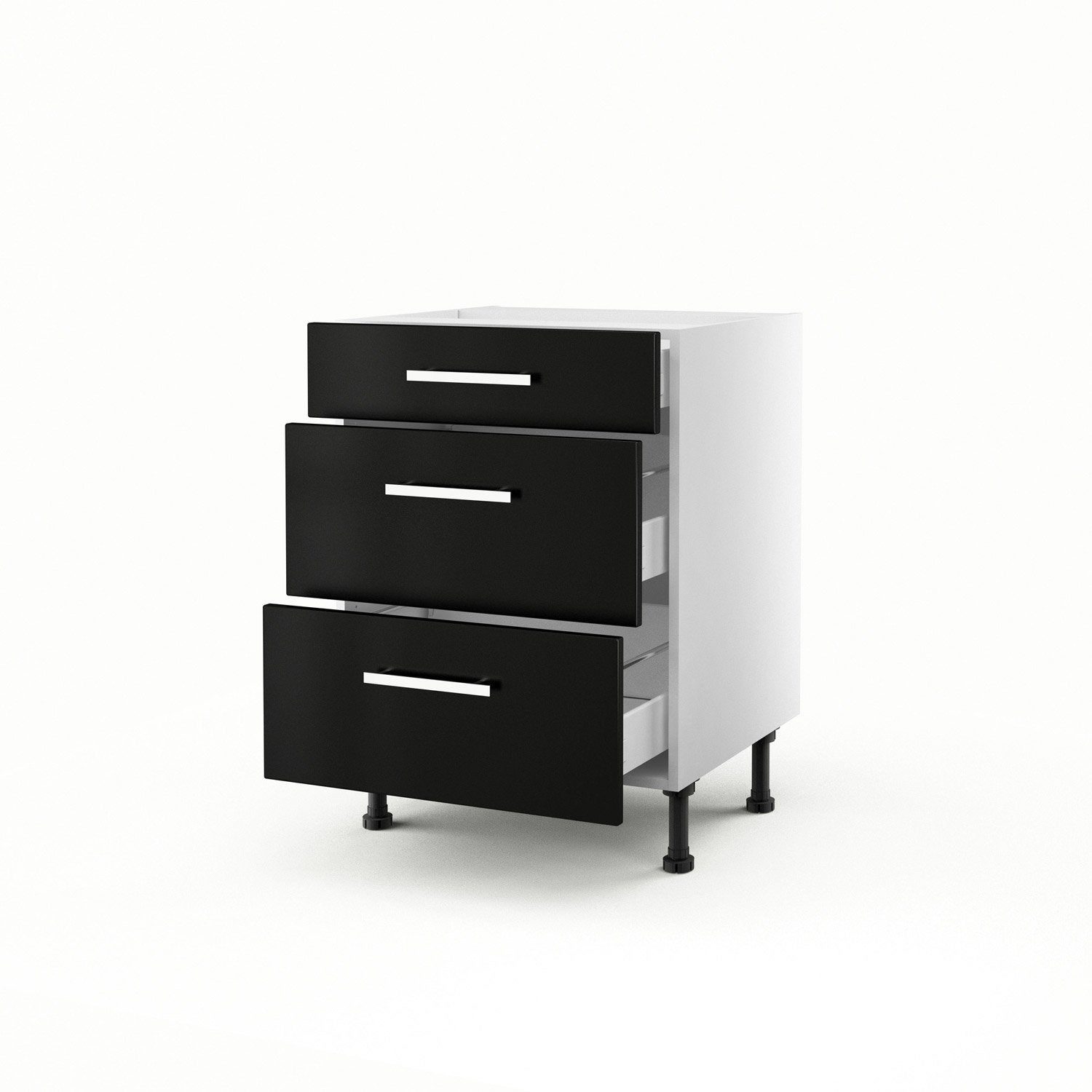 meuble de cuisine bas noir 3 tiroirs d lice x x. Black Bedroom Furniture Sets. Home Design Ideas