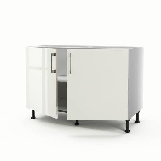 meuble de cuisine sous vier beige 2 portes perle h70 x l120 x p56 cm
