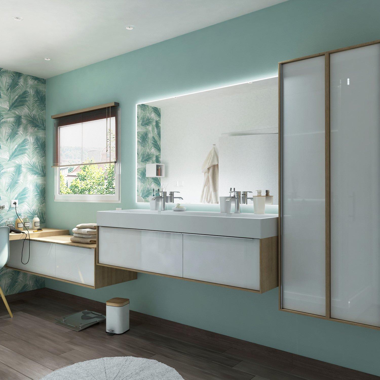 Salle de bains blanche et bois | Leroy Merlin