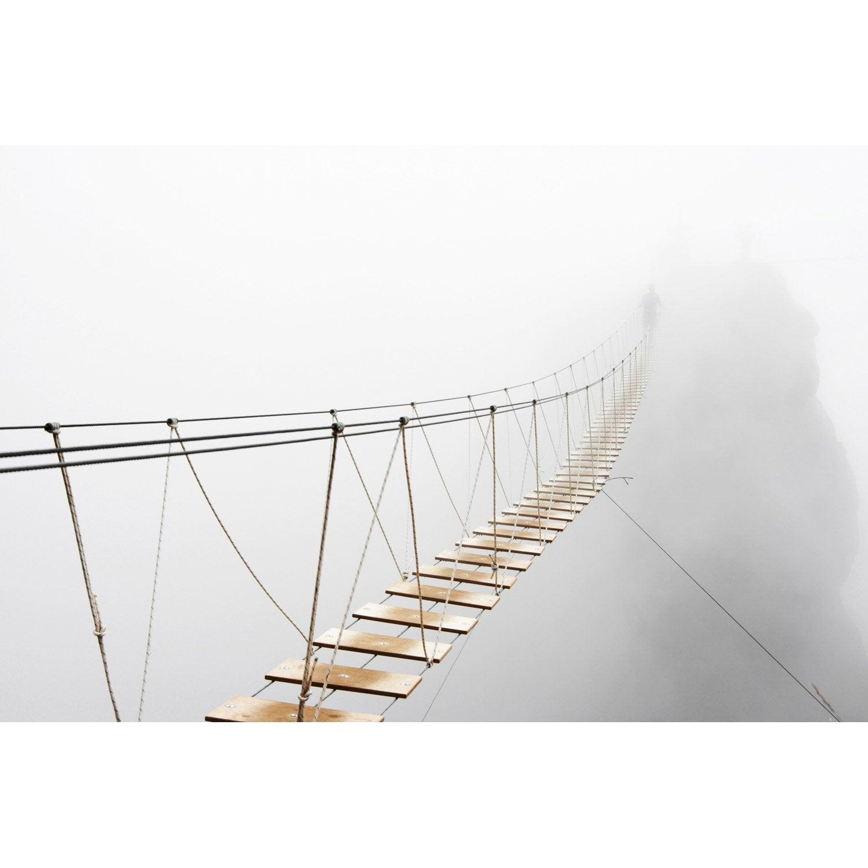 toile imprim e pont suspendu dans la brume x cm leroy merlin. Black Bedroom Furniture Sets. Home Design Ideas