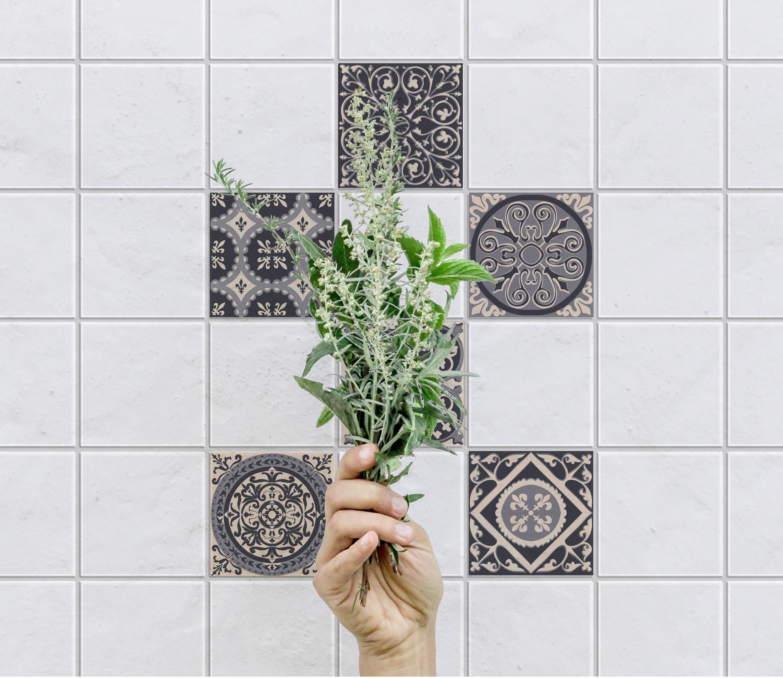 Stickers adhésifs carrelage mural Carreaux de ciment gris 15 cm x 15 cm