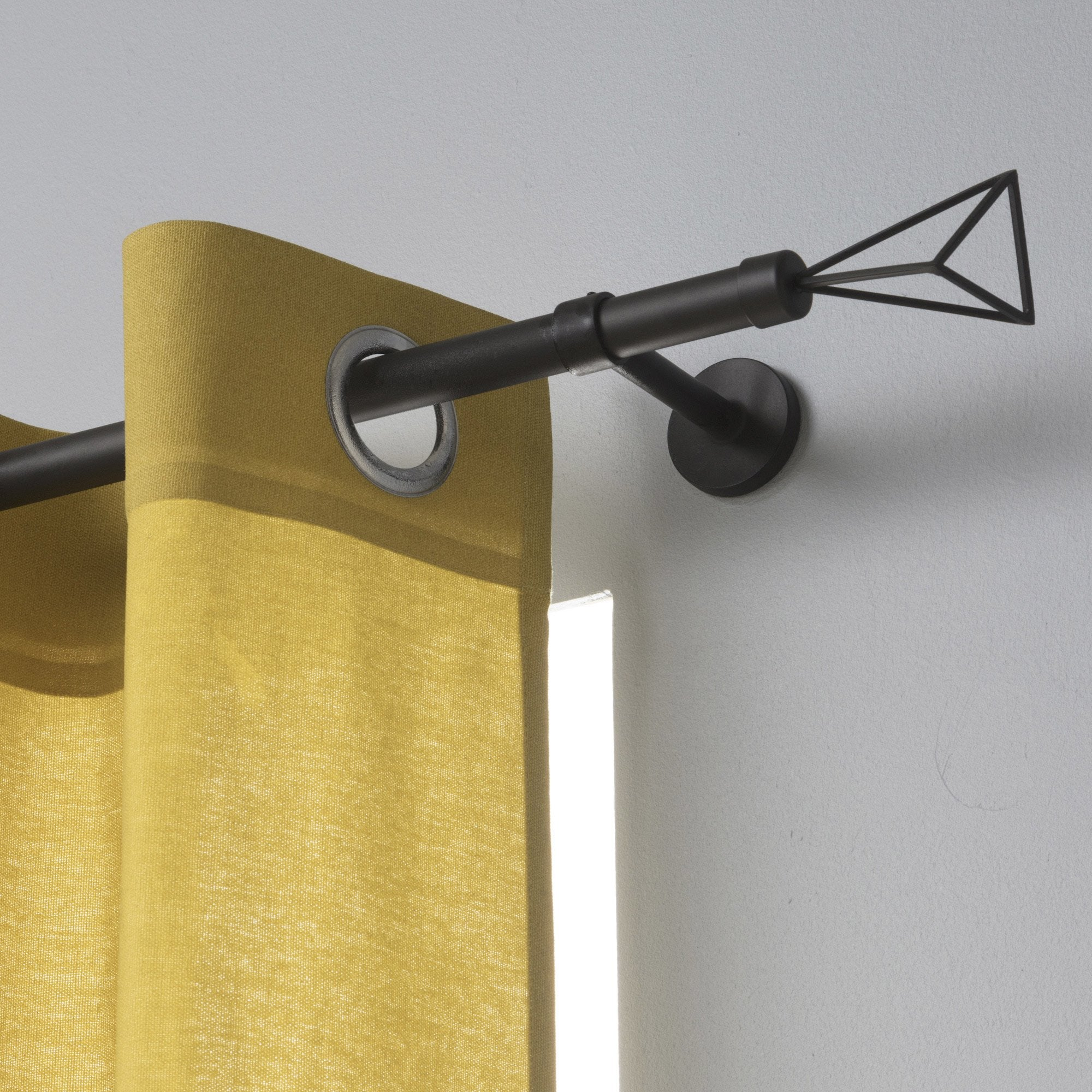Lot de 2 embouts Triangle INSPIRE, noir mat, pour tringle à rideau Diam.20 mm