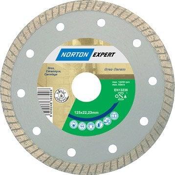 Disque diamant pour matériaux de construction NORTON, Diam.125 mm