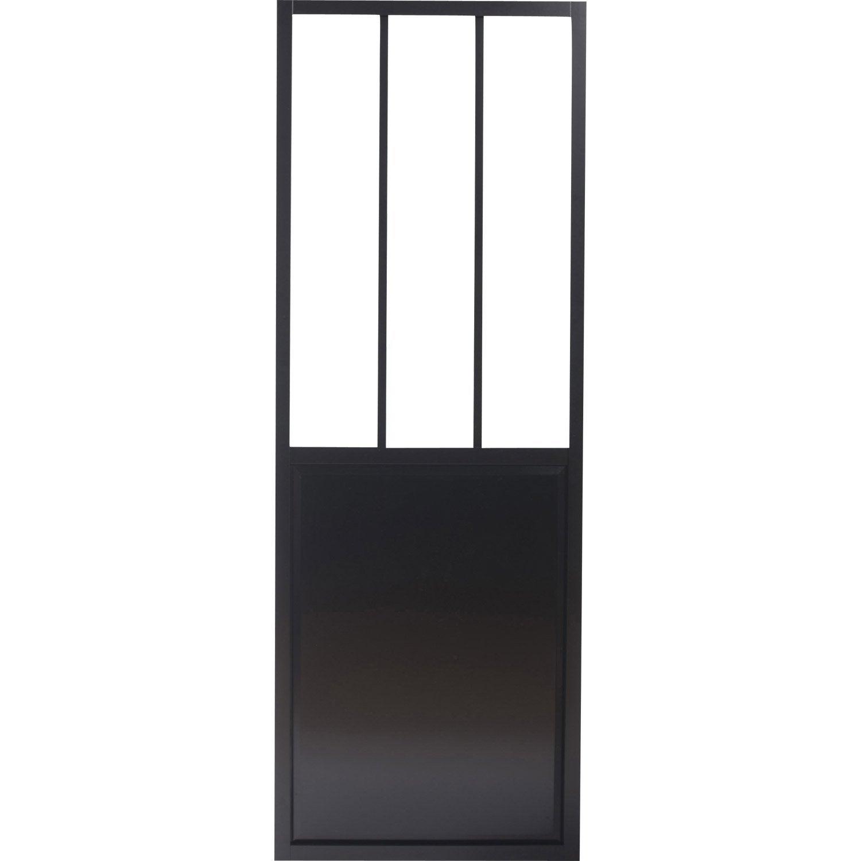 Porte Coulissante Alu Noir Foncé Verre Trempé Givré Atelier ARTENS - Bloque porte placard coulissant