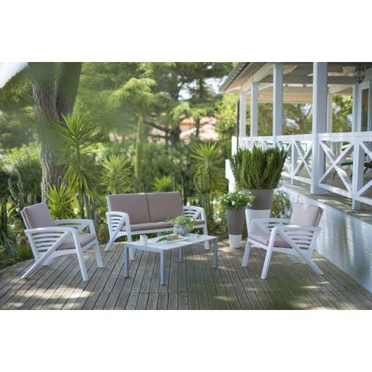 Salon bas de jardin Sunday résine injectée blanc, 5 personnes ...