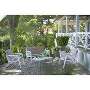 Salon bas de jardin Sunday résine (plastique) table + canapé + 2 fauteuils