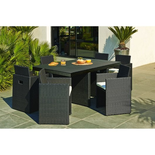 Salon de jardin encastrable r sine tress e noir 1 table 6 fauteuils leroy merlin - Table fauteuil encastrable ...
