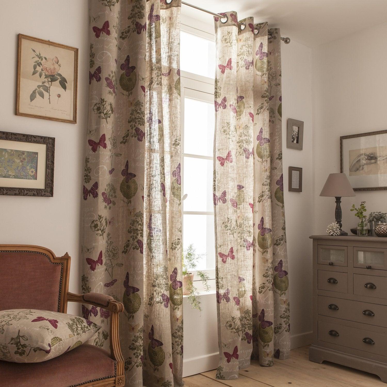 Des rideaux en lin avec des papillons pour une chambre au ...