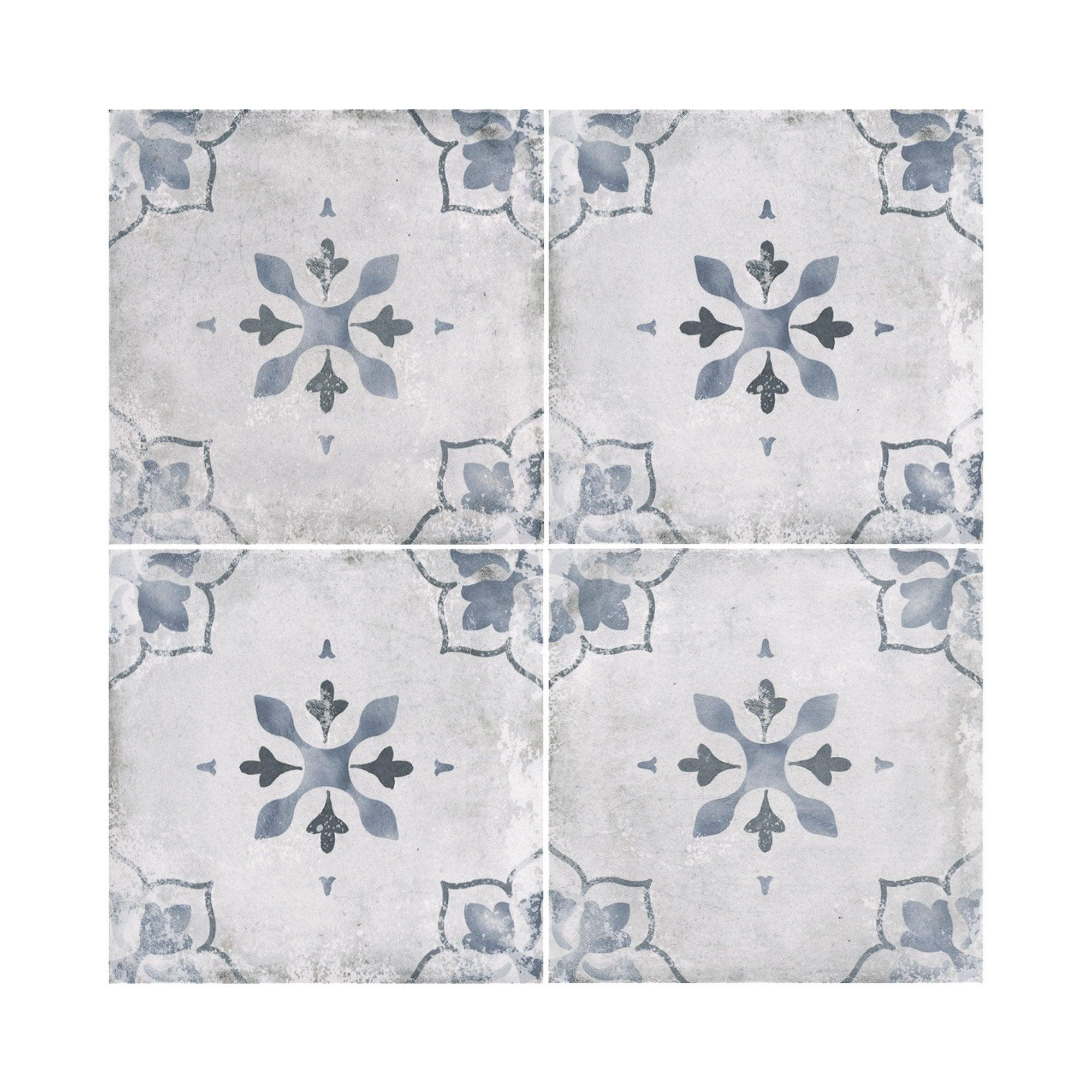 Carrelage sol et mur gris clair aspect carreau de ciment Calvados l.20 x L.20 cm