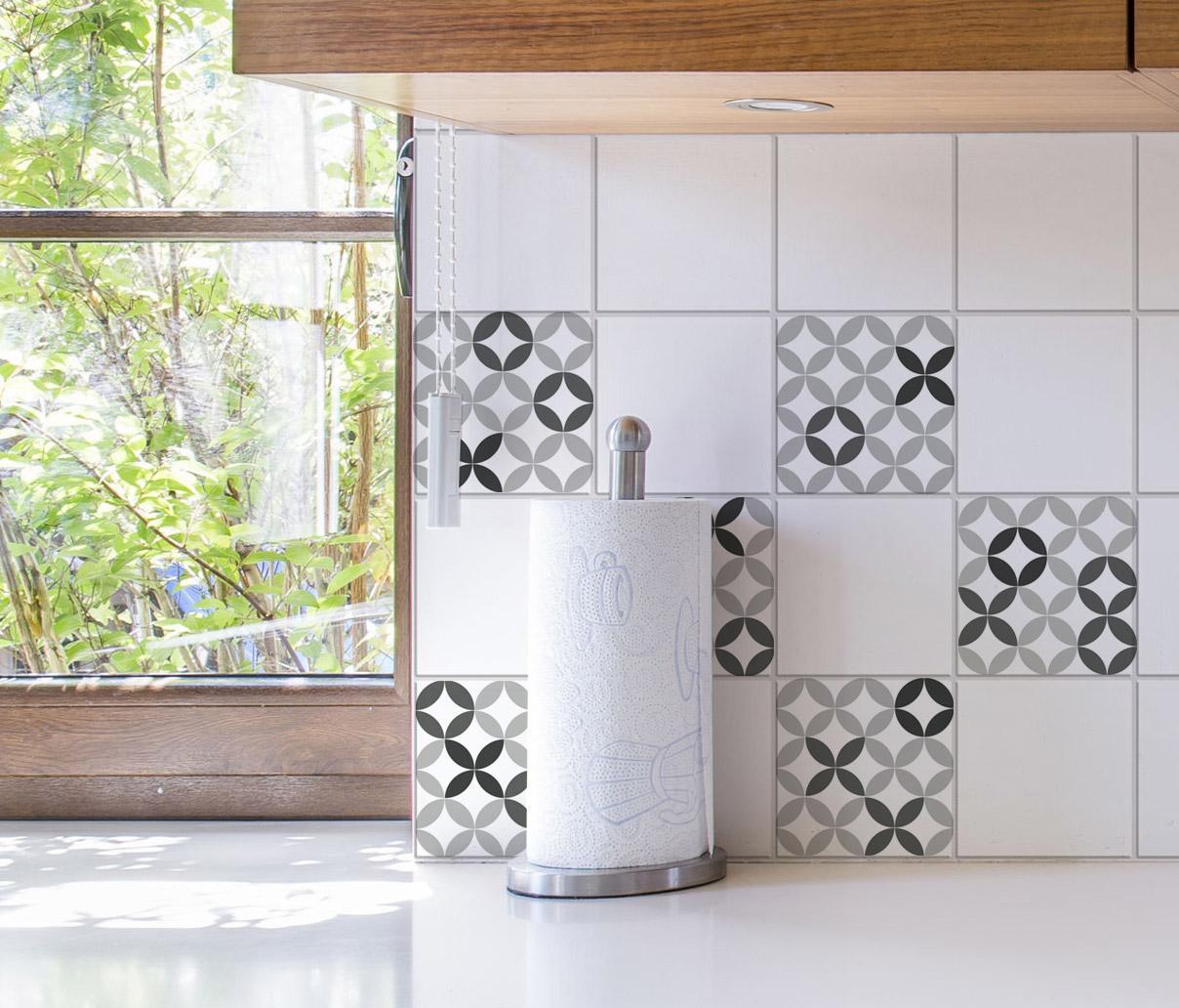 Stickers adhésifs carrelage mural Céramique noir & blanc 15 cm x 15 cm
