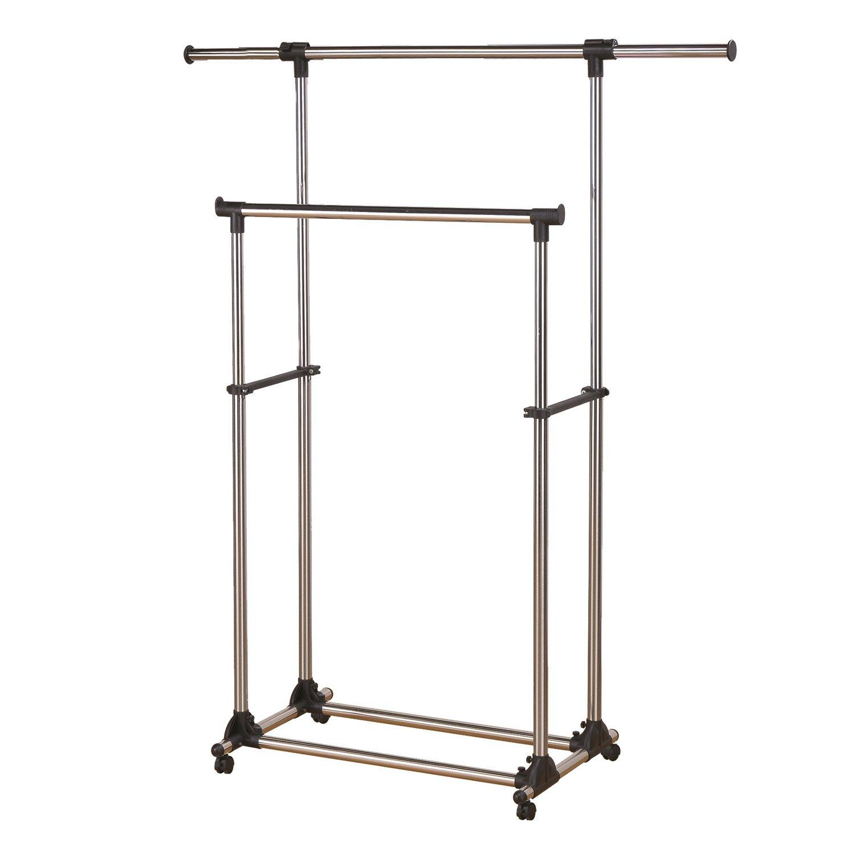 portant extensible double barre gris acier spaceo x. Black Bedroom Furniture Sets. Home Design Ideas