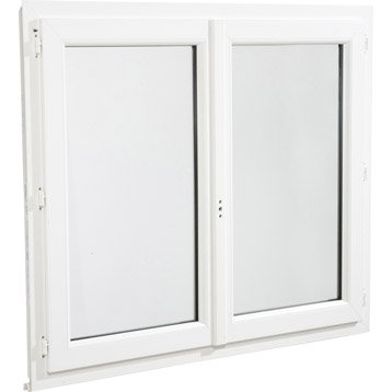 Fenêtre pvc 2 vantaux ouvrant à la française H.145 x l.100 cm