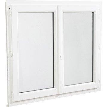 Fenêtre pvc 2 vantaux ouvrant à la française H.135 x l.100 cm