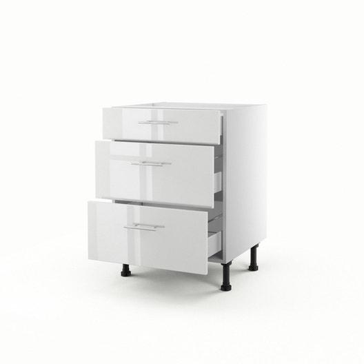 meuble de cuisine bas blanc 3 tiroirs rio h70 x l60 x