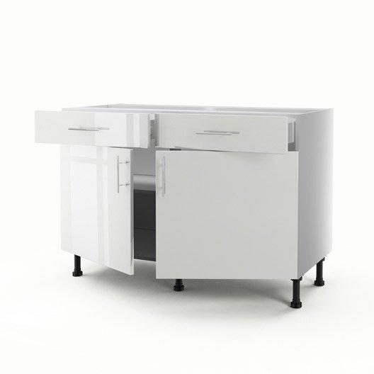 Meuble de cuisine bas blanc 2 portes 2 tiroirs rio x x cm leroy merlin - Meuble bas de cuisine 120 cm ...
