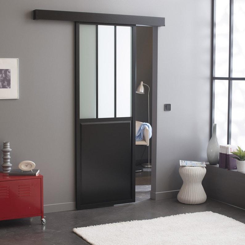 porte coulissante aluminium noir atelier verre givr artens x cm leroy merlin. Black Bedroom Furniture Sets. Home Design Ideas