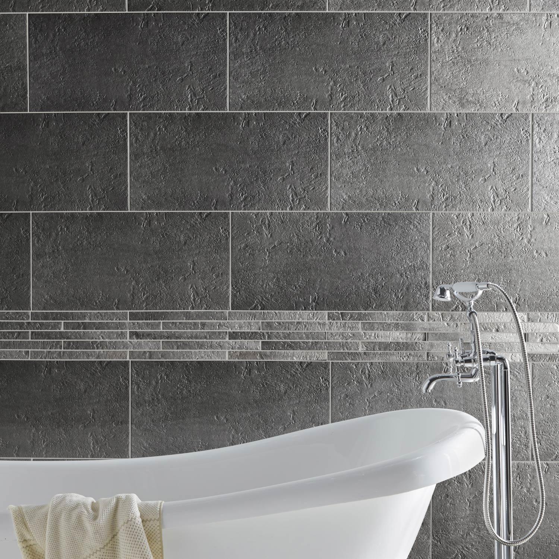 Carrelage mur et sol pierre gris mat l.30 x L.60 cm, Vestige
