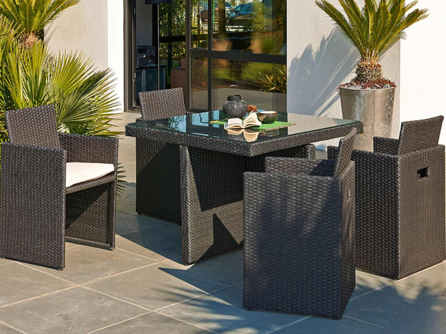 Salon de jardin table et chaise mobilier de jardin leroy merlin for Meubles de terrasse design