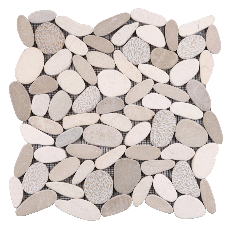 Mosaïque sol et mur River deco blanc et beige 30 x 30 cm MAT INTER