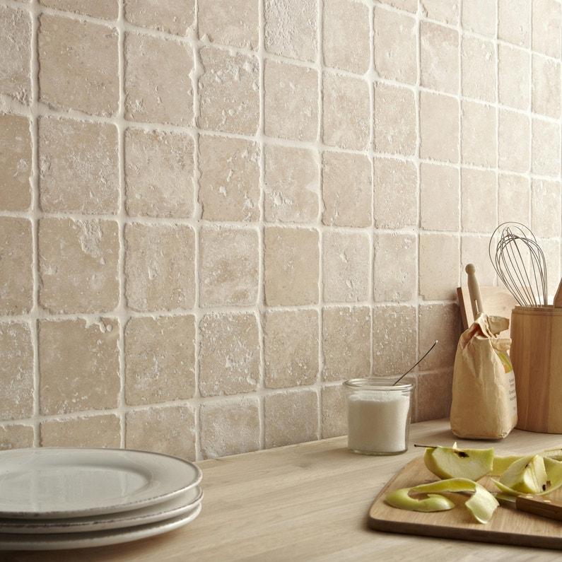 Mosaïque sol et mur Mineral ivoire 10 x 10 cm