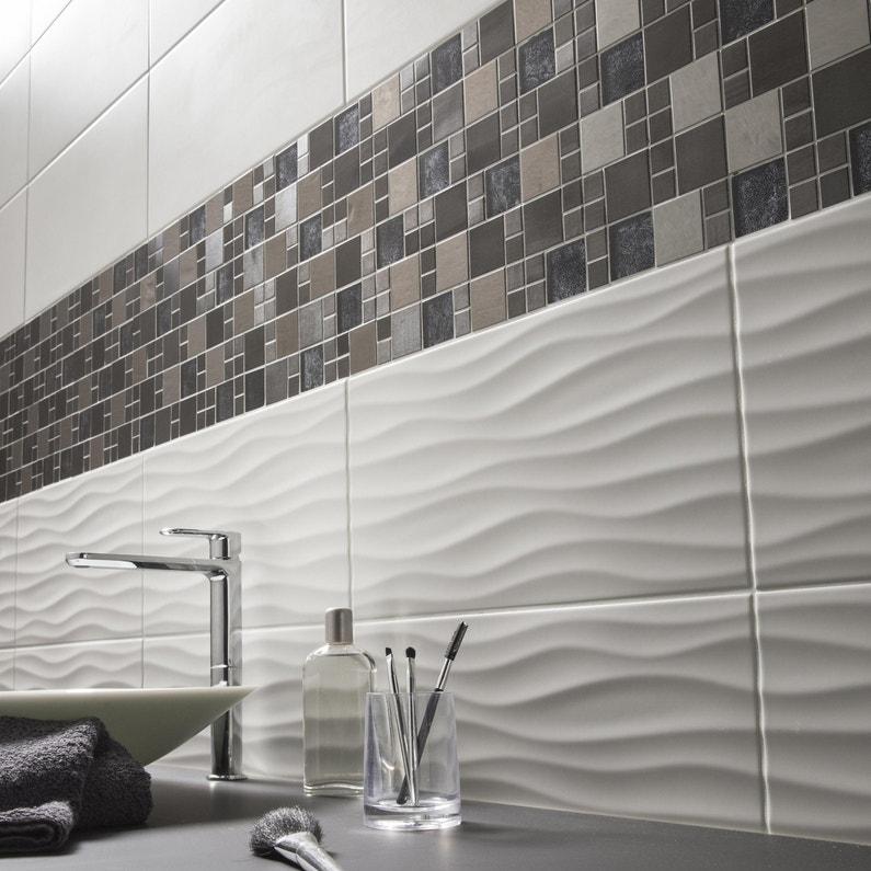 Mosaïque mur 4+1 cubic verre noir