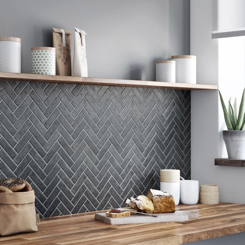 Mosaique Sol Et Mur Graphik Chevron Marbre Noir