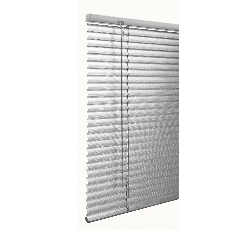 Store vénitien aluminium, argent Micro perforé, l.200 x H.180 cm