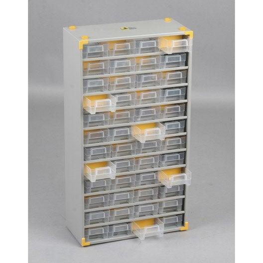 casier vis acier 48 tiroirs h 56 x l 30 x p 13 5 cm. Black Bedroom Furniture Sets. Home Design Ideas