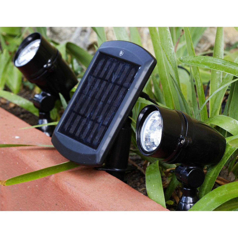 Lot de 2 spots solaire chili 48 lm noir inspire leroy merlin - Lampe solaire jardin leroy merlin ...