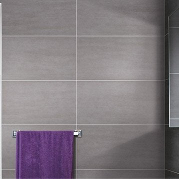 Carrelage mural et fa ence pour salle de bains et cr dence - Carrelage sol gris clair brillant ...