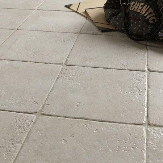 Carrelage sol et mur blanc effet pierre toscane x cm leroy me - Carrelage garage leroy merlin ...