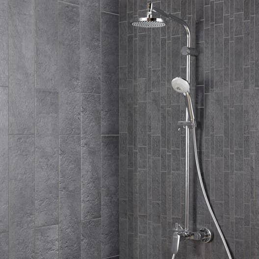 Carrelage sol et mur anthracite vestige x cm - Idees pose de faience ou de mosaique dans la salle de bain ...