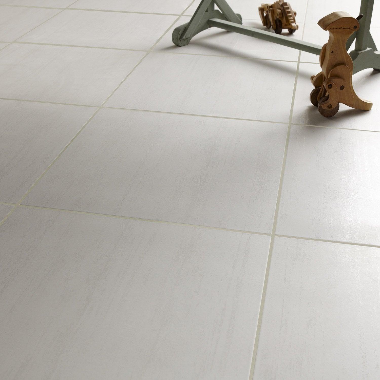 Carrelage Blanc pour carrelage sol et mur blanc effet béton eiffel l.45 x l.45 cm | leroy