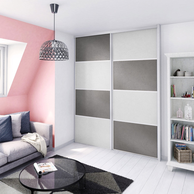 porte de placard coulissante composer m tal clair m tal fonc spaceo leroy merlin. Black Bedroom Furniture Sets. Home Design Ideas