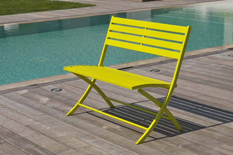 un banc de jardin pliable jaune leroy merlin. Black Bedroom Furniture Sets. Home Design Ideas