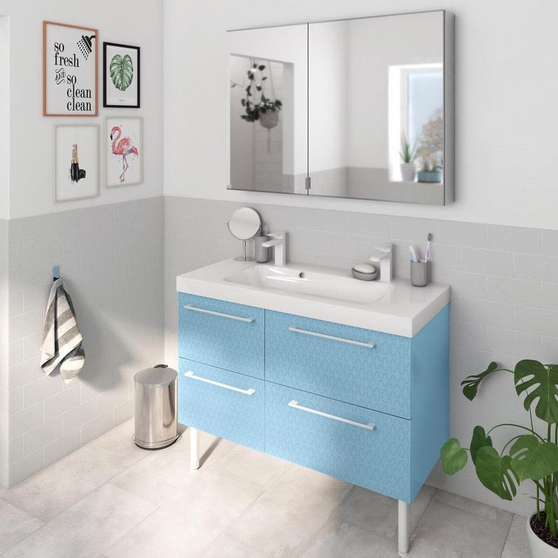 Meuble Simple Vasque L120 X H58 X P46 Cm Bleu 3d Remix