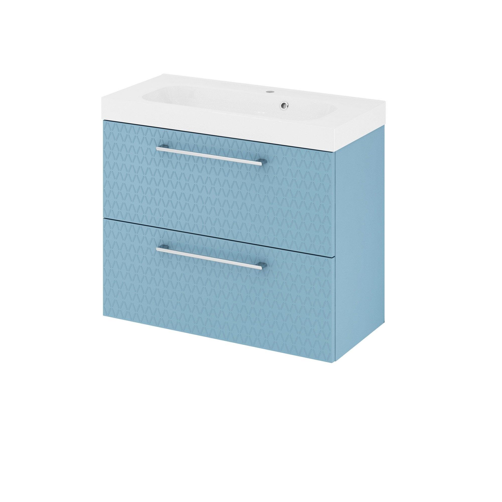 Meuble de salle de bains, Remix, l.76, bleu 3d, Simple vasque, 2 tiroirs