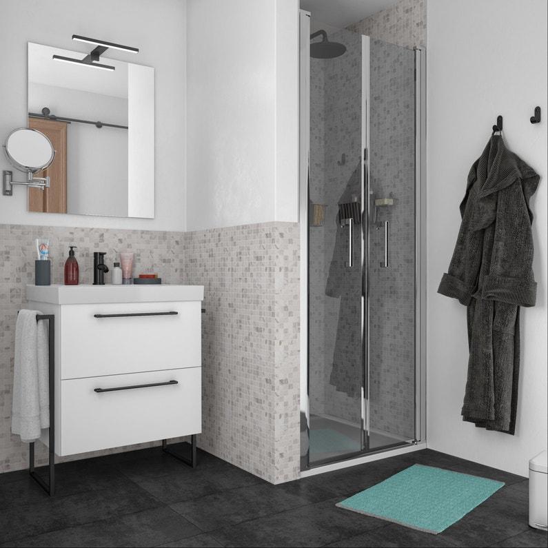 Meuble simple vasque l.60 x H.58 x P.46 cm, blanc, Remix