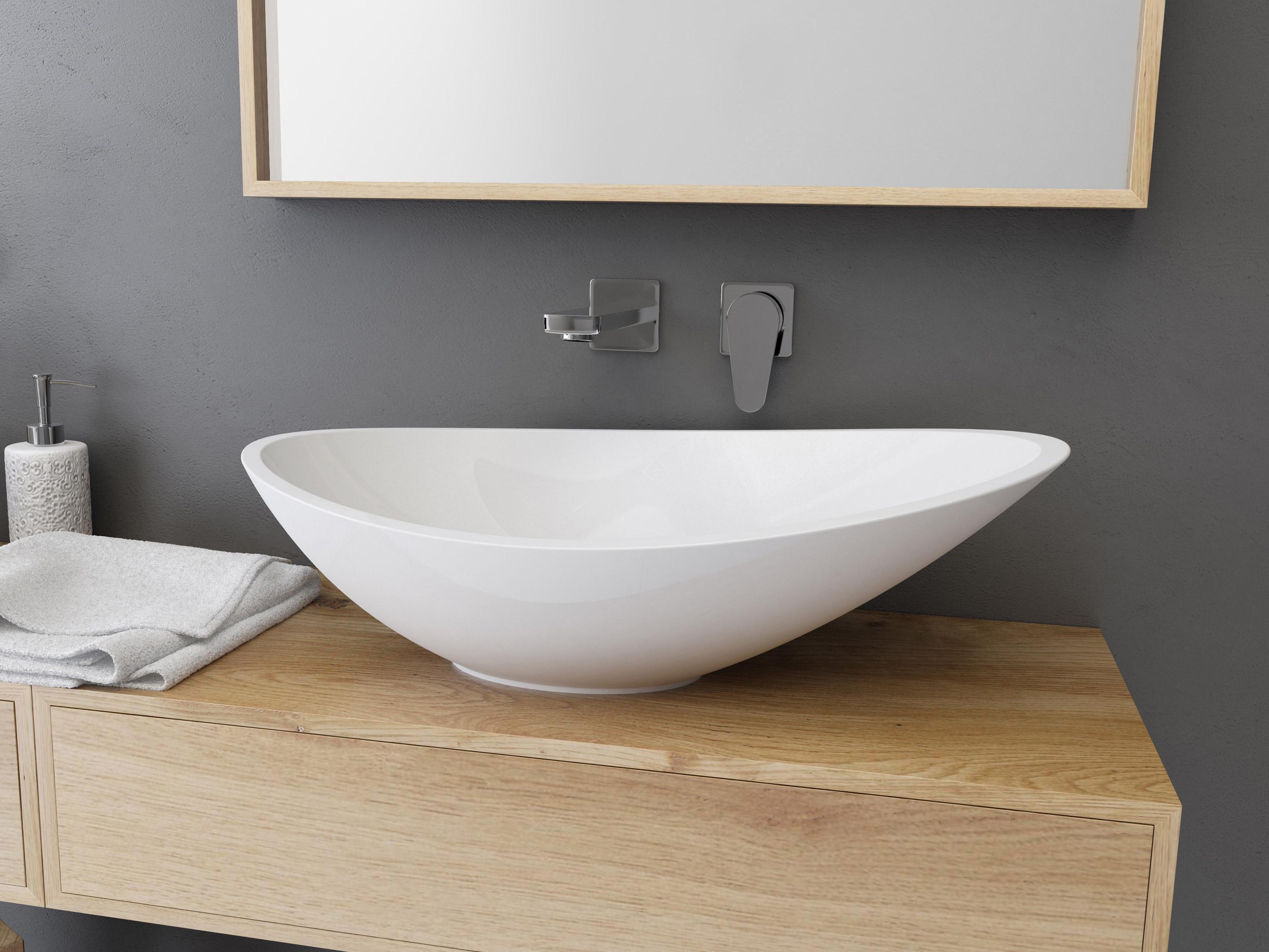 Vasque à Poser Résine De Synthèse L.56.4 X P.32.3 Cm Blanc Shila ...