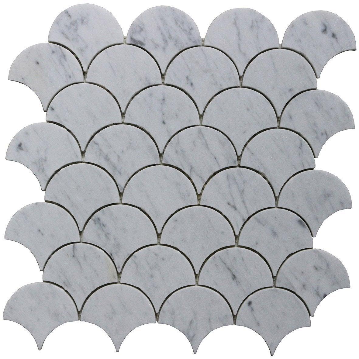 Mosaïque mur Mineral scale blanc