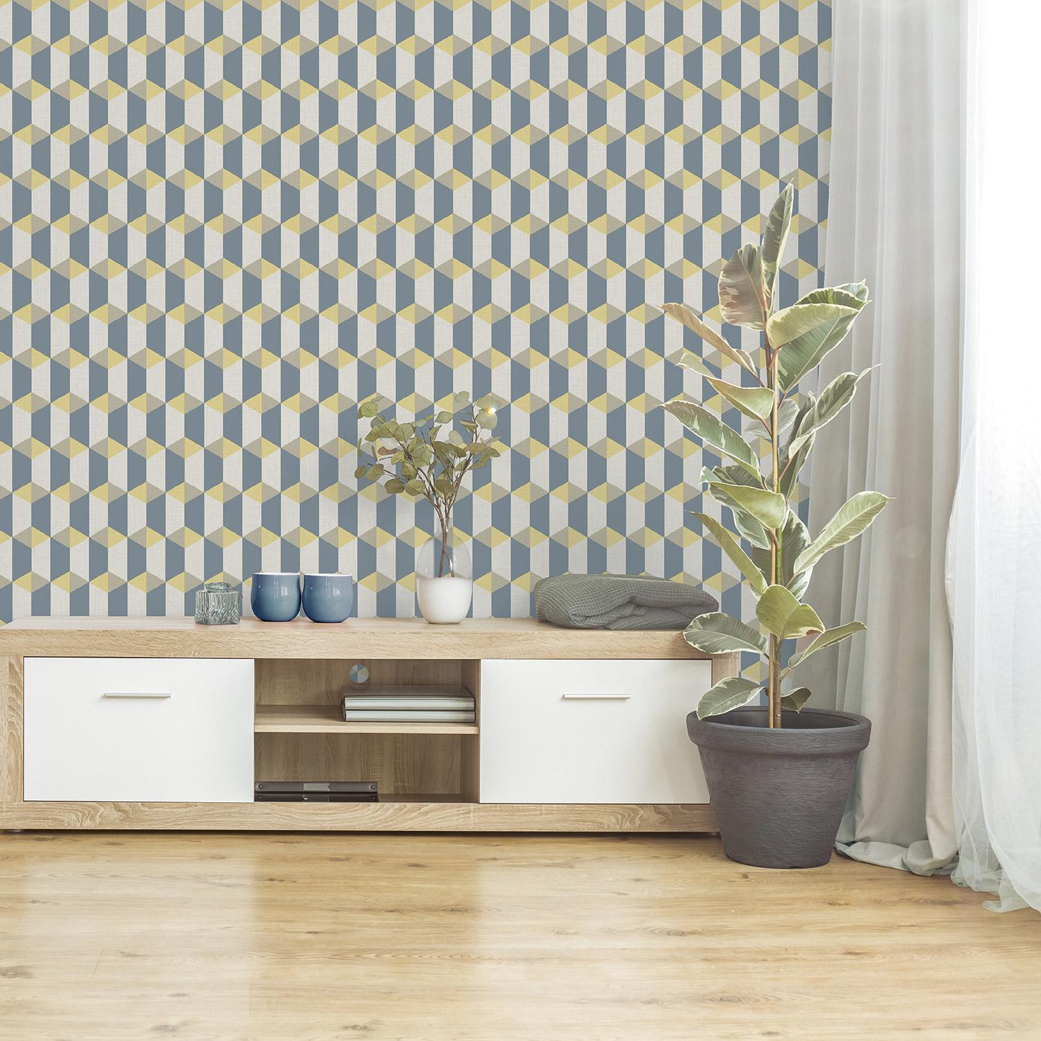 Papier peint vinyle Celia graphique bleu jaune beige