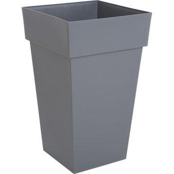 Pot plastique EDA L.39 x l.39 x H.65 cm gris anthracite