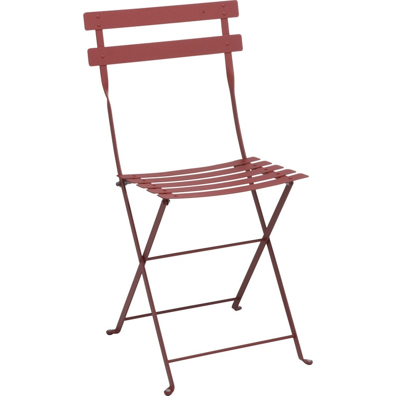 chaise de jardin en acier bistro piment - Chaise Acier