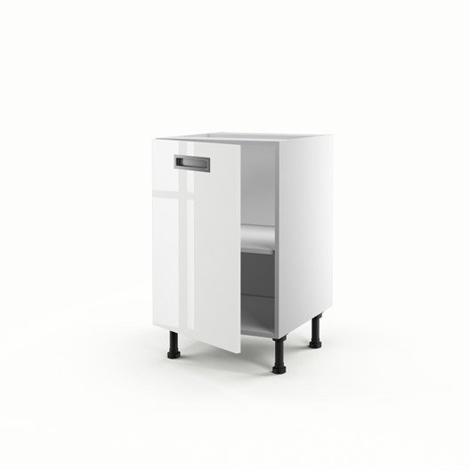 Meuble de cuisine bas blanc 1 porte play x x p for Meuble 70 cm largeur