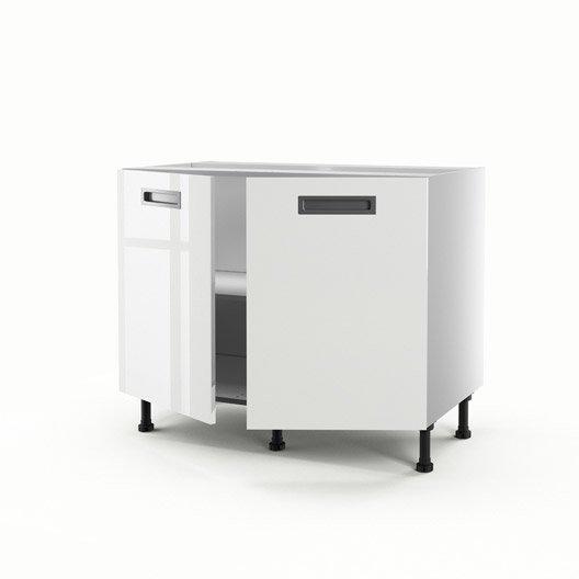 Meuble de cuisine bas blanc 2 portes play x x p - Meuble blanc de cuisine ...