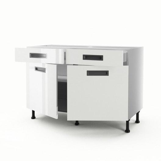 meuble de cuisine bas blanc 2 portes 2 tiroirs play h70 x l