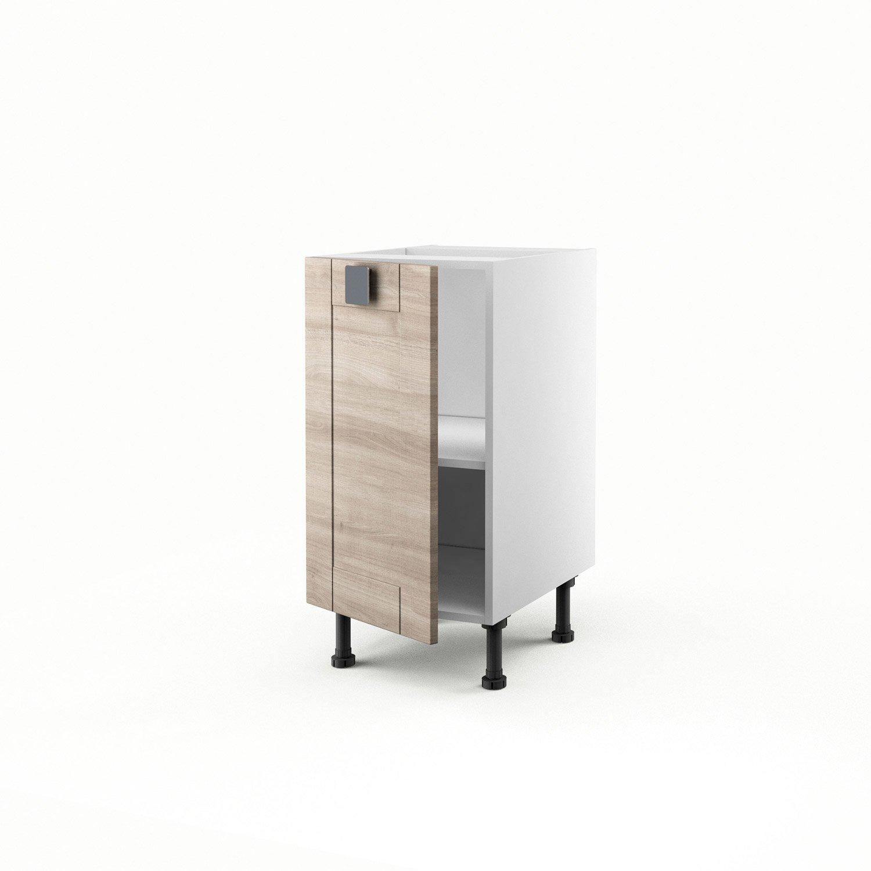 meuble de cuisine bas d cor ch ne blanchi 1 porte karrey x x cm leroy merlin. Black Bedroom Furniture Sets. Home Design Ideas