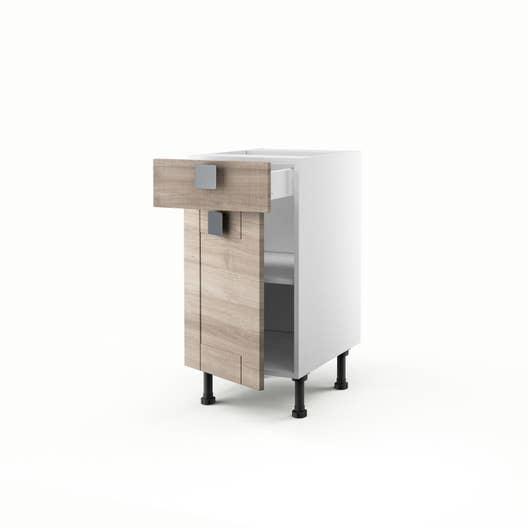 meuble de cuisine bas dcor chne 1 porte1 tiroir karrey h70 x l40 x p56 cm