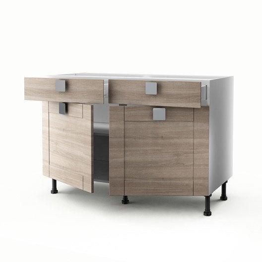 meuble de cuisine bas décor chêne 2 portes+2 tiroirs karrey h.70xl ... - Meuble Cuisine 120 Cm
