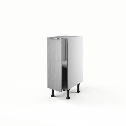 Meuble de cuisine bas d cor aluminium 1 porte stil x for Meuble bas cuisine 30 cm largeur